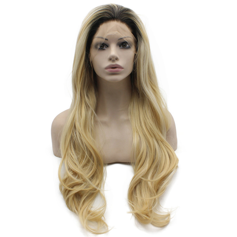iwona 26 inches long wavy ombre blonde glueless lace front synthetic wig