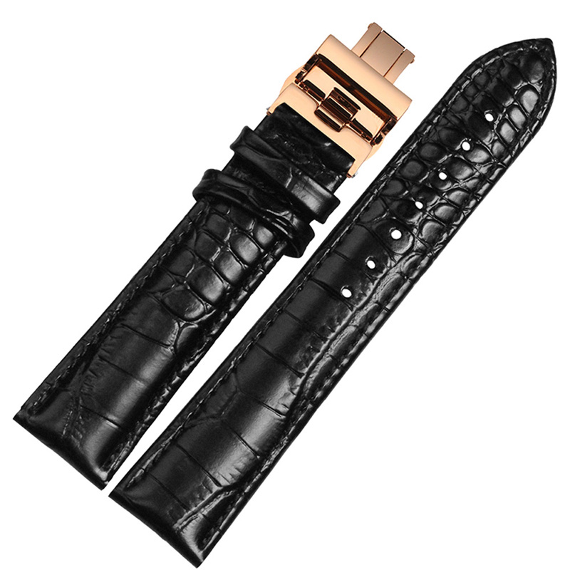 BOLISI Черный soft leather smooth black brown watchband with folding buckle 22mm watch accessories bands for brand fashion hours men strap new