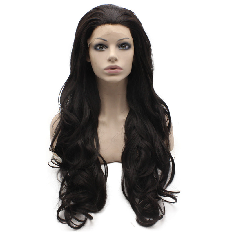 iwona 26 inches 2016 high temperature fiber women long brown curly wavy full wigs party synthetic hair cosplay wig