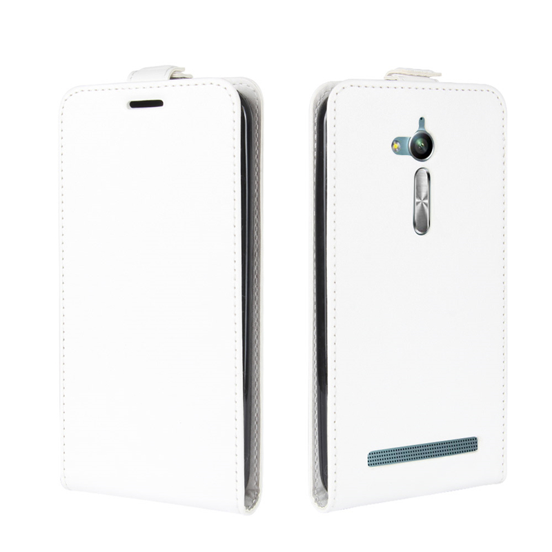 GANGXUN White roar tpu pu flip open case w stand display window for asus zenfone 5 white black
