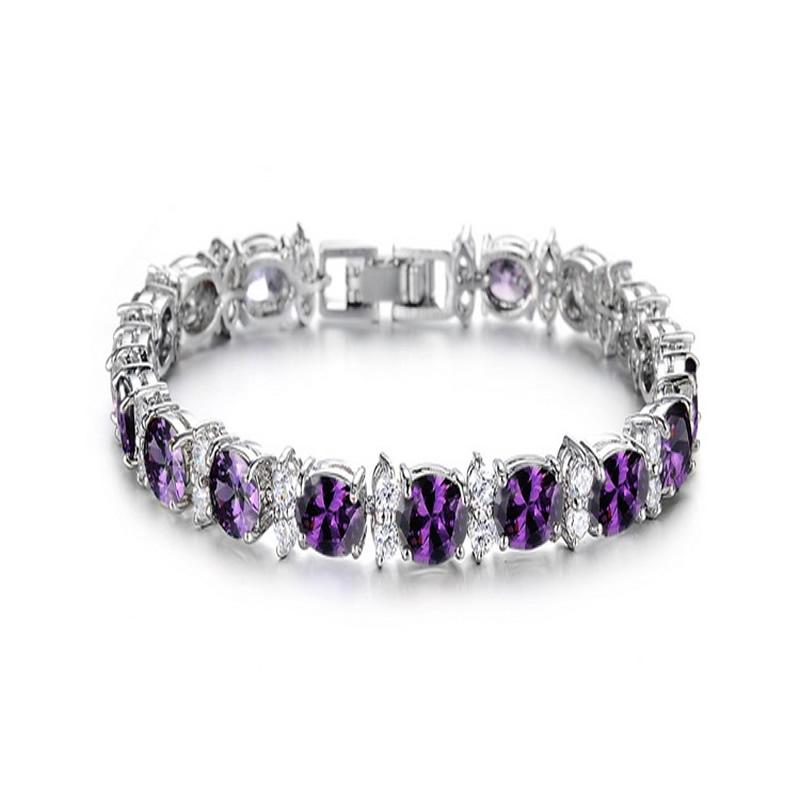 yoursfs Пурпурный модные браслеты 12 знак браслеты золото 18k platinum покрытием циркония ювелирные изделия шарма близнецы браслеты для женщин подарок на день рождения