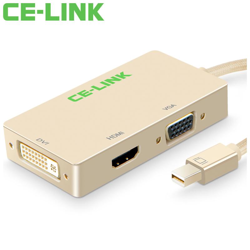 JD Коллекция Mini DP к VGA HDMI DVI12 золотой кабель создание mini dp dp hdmi dvi тройной трансфицировал мини displayport адаптер конвертера подключены проекционный телевизор macbook белого cd0016