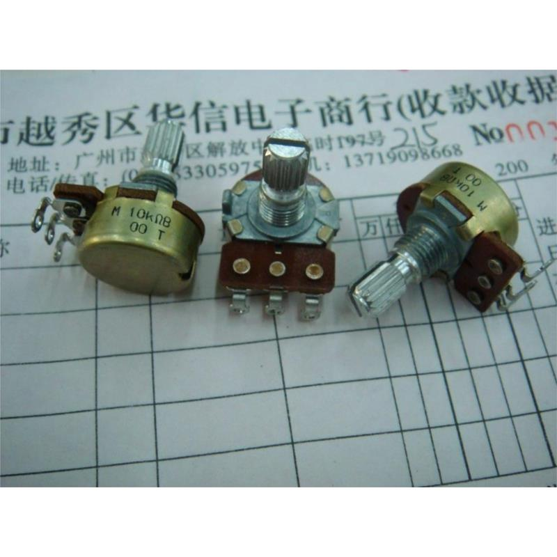CazenOveyi 10pcs lot wh148 b10k 3pin10k ohm potentiometer 15mm shaft with nuts washers hot new original free shipping