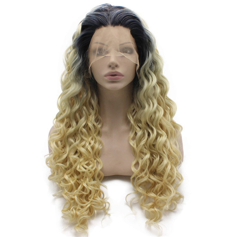iwona 26 inches iwona synthetic hair lace front long curly ash blond wig