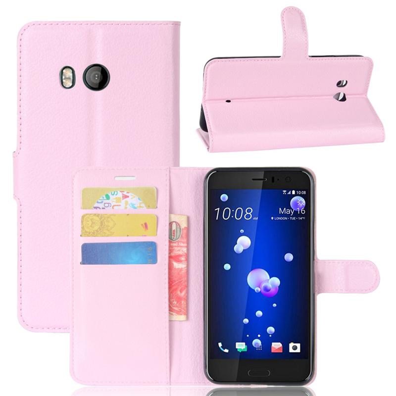 GANGXUN Розовый gangxun htc u11 дело высокого качества кожа pu флип обложка kickstand anti шок кошелек для htc u11