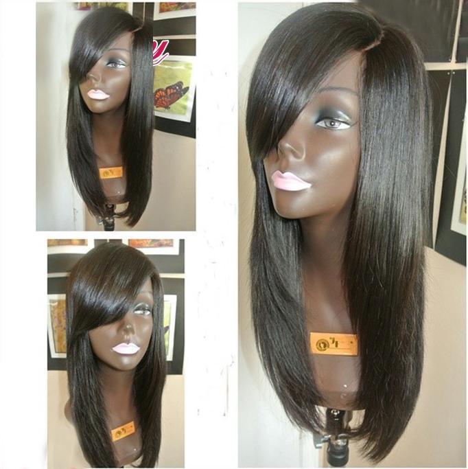 парик BOND 16 inches 590a 27 30 fashion lady s diagonal bangs long natural straight hair wig golden