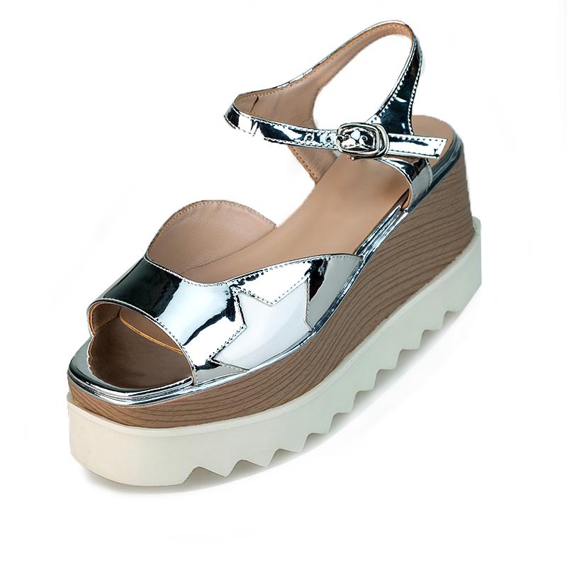 weinishi Серебристый цвет 6 ярдов сандалии ия 2017 круглый нос летняя обувь кожаная обувь обувь с пряжечной кожаная обувь
