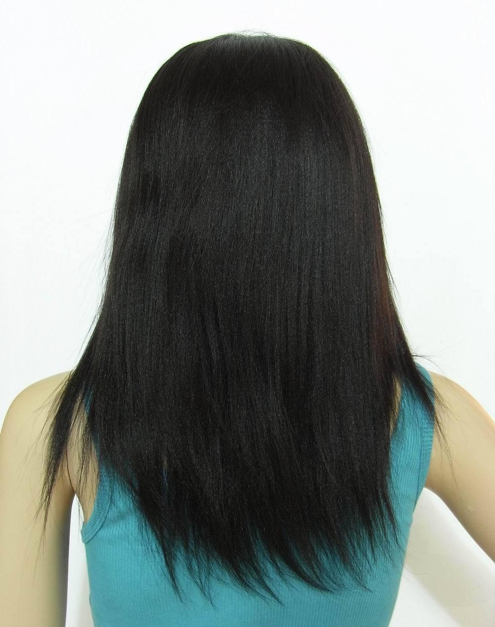 QDKZJ Естественный цвет 10 дюймов 2018 бразильский парик шнурка настоящий шелковый парик волос черный средний короткий прямой волос естественный парик химического волокна
