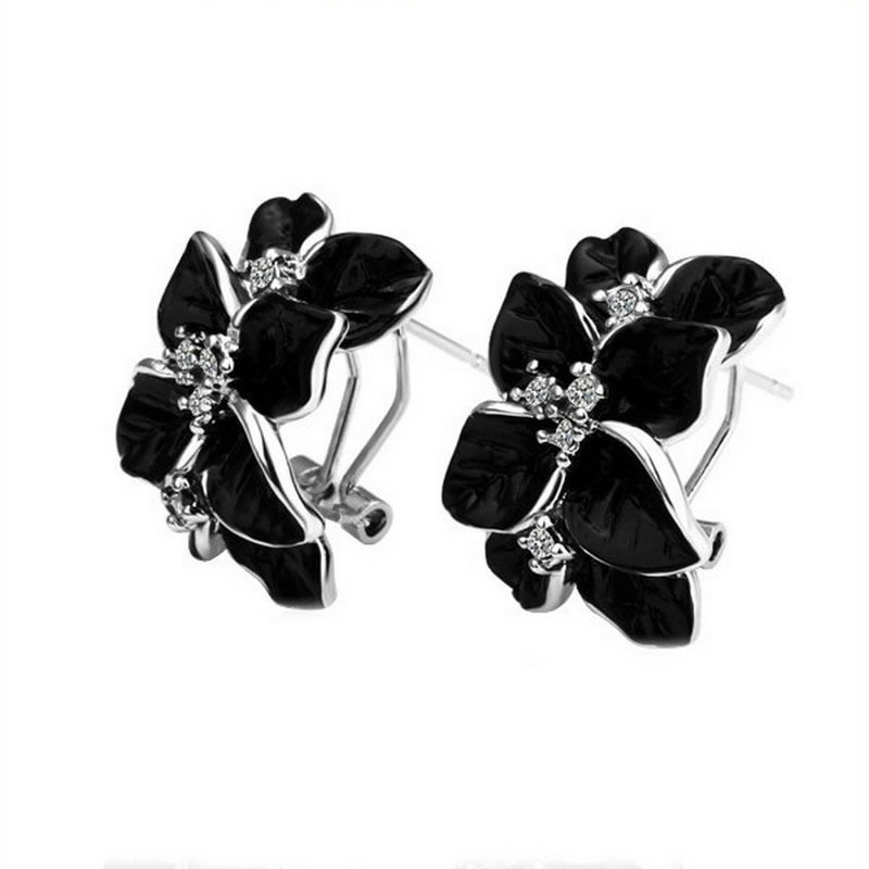 yoursfs Black yoursfs fashion 18k rose gold plated white black flower zircon stud earring