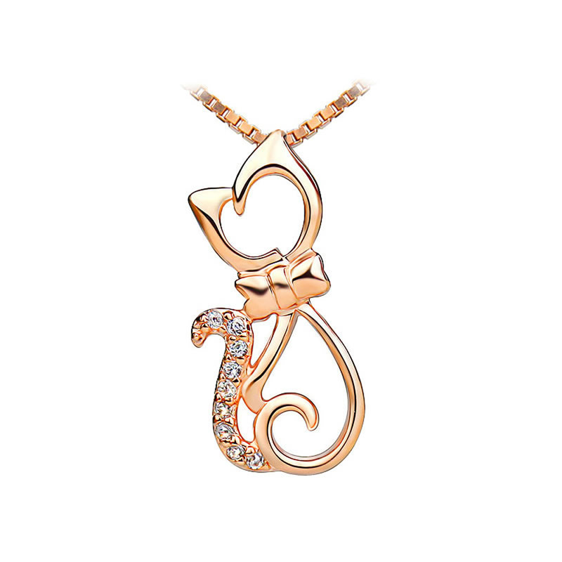 yoursfs Золото yoursfs 18k rose gold plated charm white enamel lucky elephant long animal pendant necklace chain for women clothing