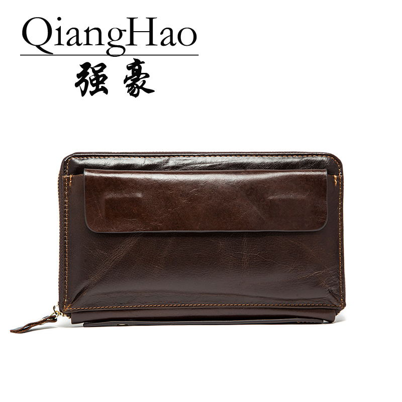 QiangHao Кофейный hamich genuine leather men wallets double zipper male wallet men purse male long phone wallet man s clutch bags coin purse