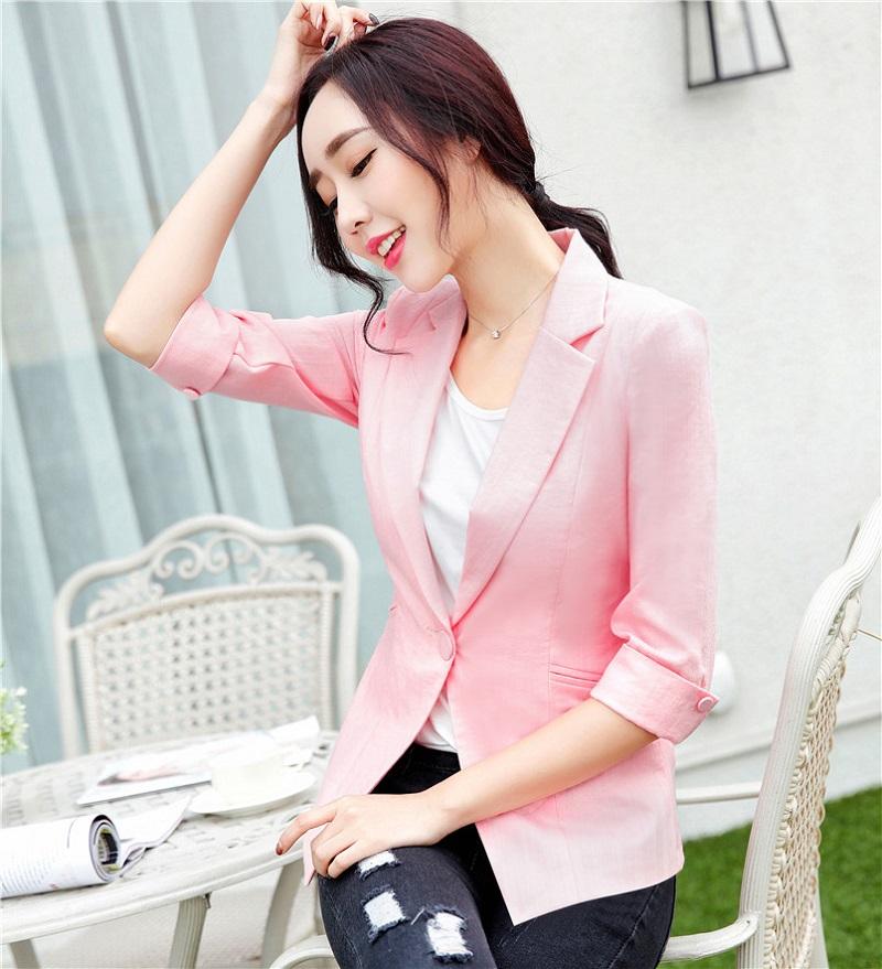 U&JINLY Розовый Номер S women linen half sleeve blaser 2017 new elegant casual candy color single button plus size work blazer office jacket pink white
