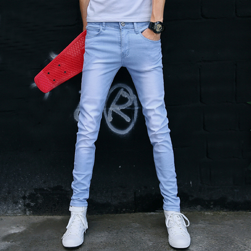 KALUNU Sky Blue 33 autumn mens full length denim pencil pants vintage slim fit jeans cargo overalls pockets casual homme biker jean jumpsuits