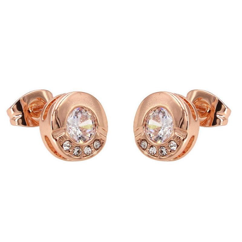 yoursfs Роза золотой yoursfs fashion 18k rose gold plated white black flower zircon stud earring