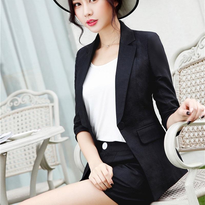 U&JINLY Черный Номер XXL womens linen casual blazers elegant autumn office business outwear jacket top blazer half sleeve single button slim wear to work