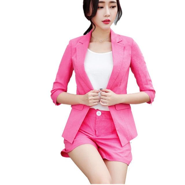 U&JINLY Розовый Номер 4XL womens linen casual blazers elegant autumn office business outwear jacket top blazer half sleeve single button slim wear to work