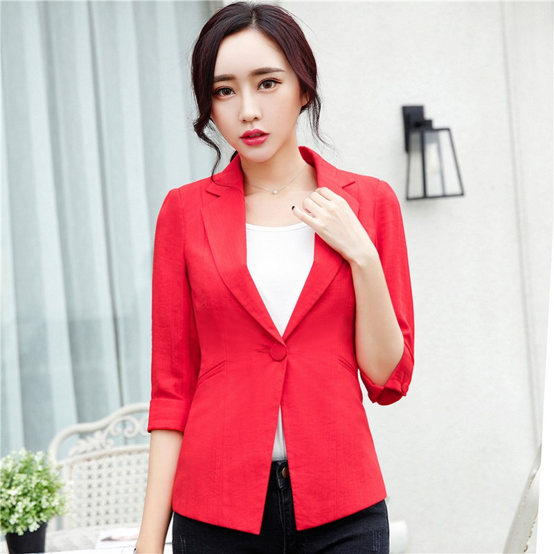 U&JINLY Красный Номер 4XL women linen half sleeve blaser 2017 new elegant casual candy color single button plus size work blazer office jacket pink white