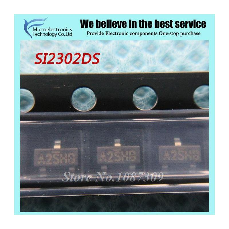 CazenOveyi 100pcs lot free shipping n channel mosfet si2302 a2shb 2 5a 20v sot23 mos tube si2302ds high quality