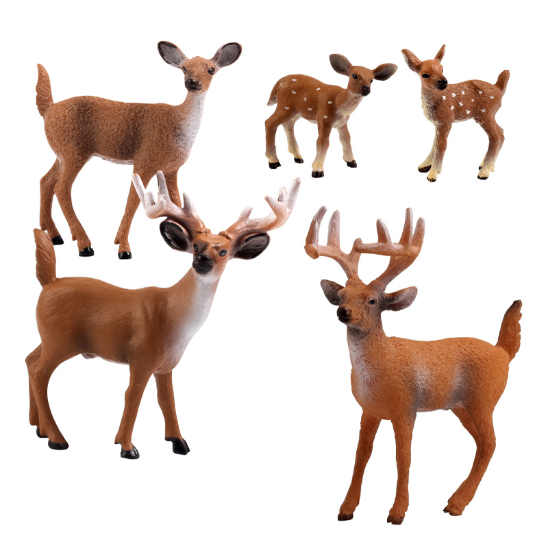 SURPRESAV 3-6 лет small simulation animal deer sika deer artificial baby deer toy decoration for garden home cute small doll figure gift for child