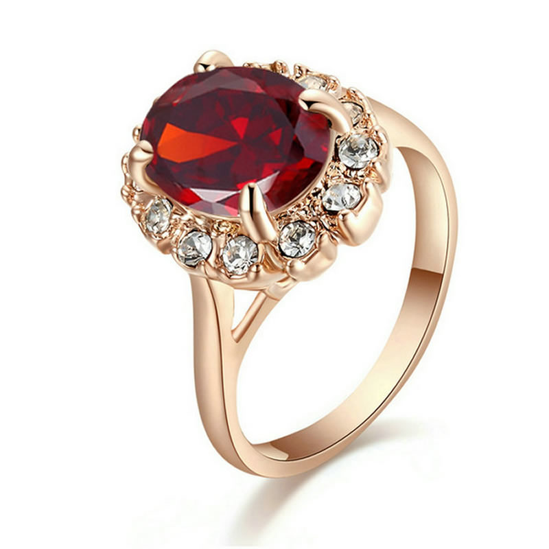 yoursfs Red 8 yoursfs gorgeous 18k rose gold plated shinning zircon ring for wedding