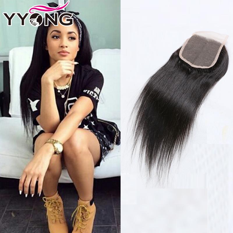 Перуанские прямые волосы Перуанские девственные волосы прямые закрытие кружева YYONG Естественный цвет 20 дюймов фото