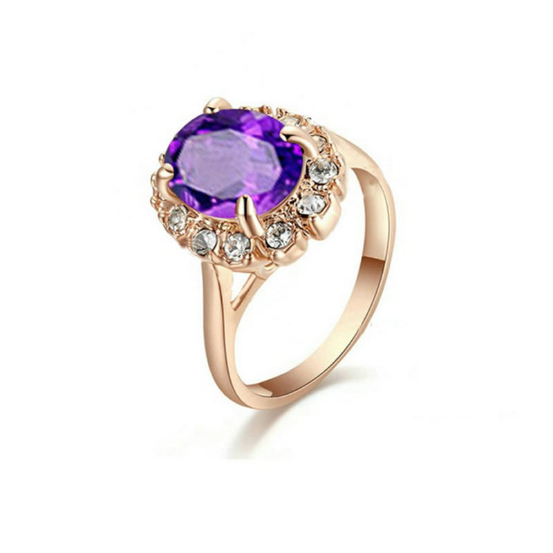 yoursfs Пурпурный 6 yoursfs dual teardrop shining zircon ashion 18k rose gold plated cocktail ring