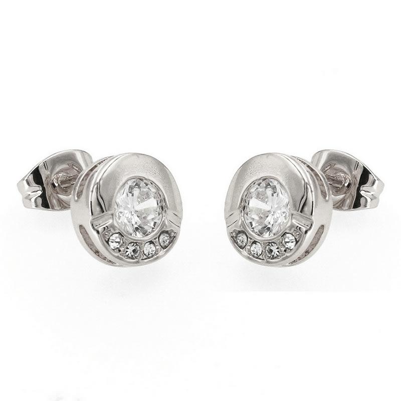 yoursfs Серебряный yoursfs fashion 18k rose gold plated white black flower zircon stud earring
