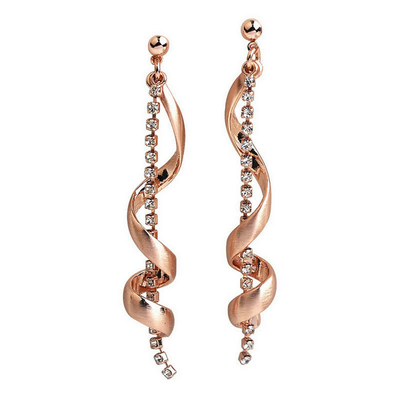yoursfs Роза золотой yoursfs dangle earrings with long chain austria crystal jewelry gift 18k rose gold plated