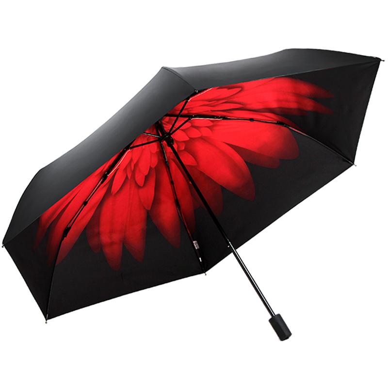 JD Коллекция красный дефолт jingdong [супермаркет] рай зонтик upf50 весь оттенок черного винила передачи сложенный зонтик зонтик зонт от солнца восход 30309dlcj