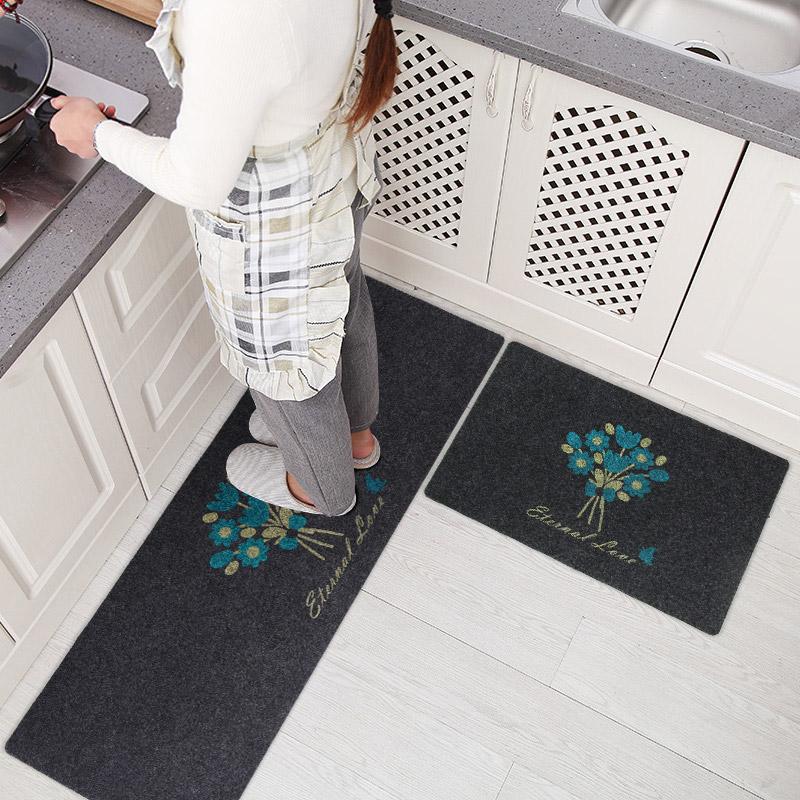 JD Коллекция Черный фон с синими цветами 45 120см 40 60см богатый рейтинг foojo кухня моющийся нескользящие коврики для вытирания ног 45 120см черный фон с синими цветами