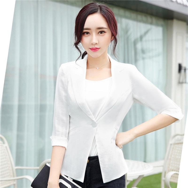 U&JINLY Белый Номер XL women linen half sleeve blaser 2017 new elegant casual candy color single button plus size work blazer office jacket pink white