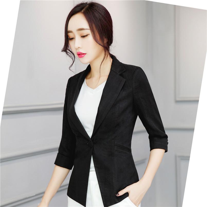 U&JINLY Черный Номер 4XL women linen half sleeve blaser 2017 new elegant casual candy color single button plus size work blazer office jacket pink white