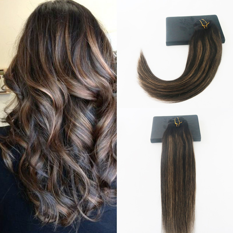 Ever magic 18 inches 2017 metal clips 18 inch 8 pieces set straight clip in natural hair extensions blonde brown clip ins free shipping