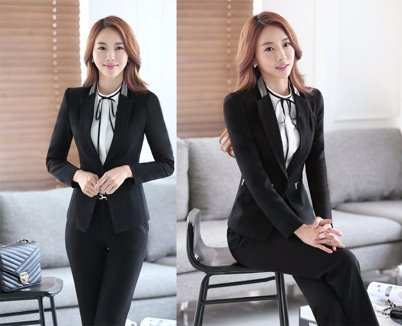 U&JINLY Черный 3XL formal uniform design professional long sleeve autumn winter blazers ladies jackets coat female tops blaser outwear work wear