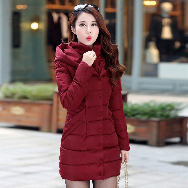ZOGAA Красный winter long thick hoodied cotton coat fashion pattern parka jacket women cotton padded clothing girl fashion slim body pockets