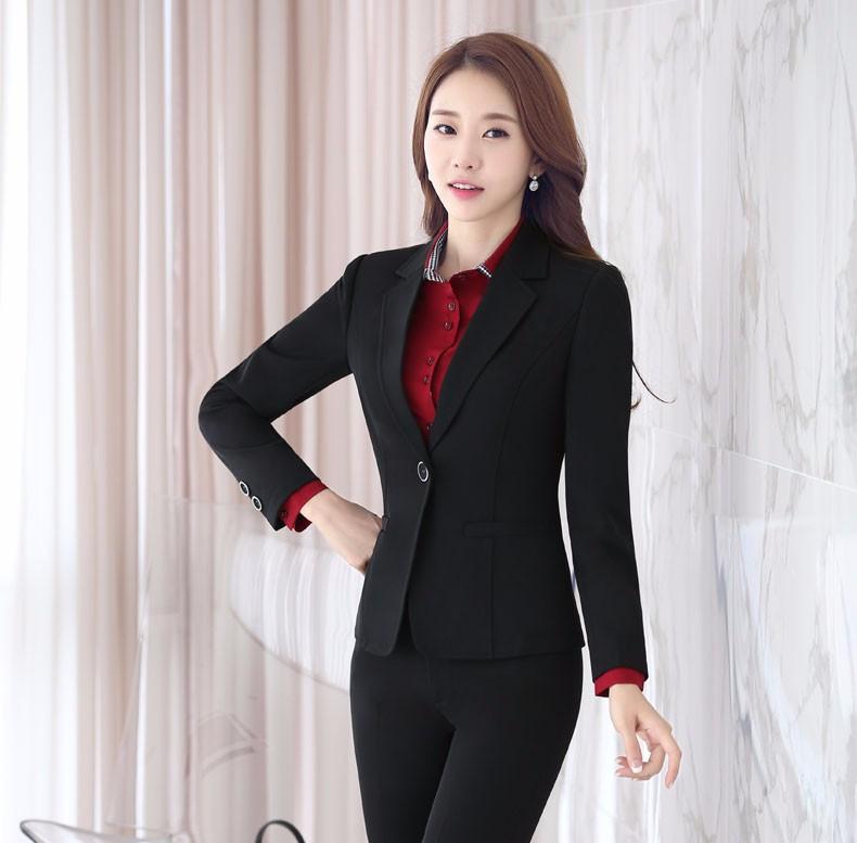 U&JINLY Черный 2XL formal uniform design professional long sleeve autumn winter blazers ladies jackets coat female tops blaser outwear work wear