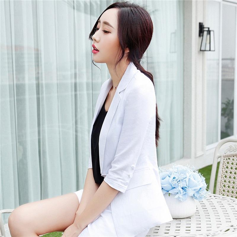 U&JINLY Белый Номер XXL womens linen casual blazers elegant autumn office business outwear jacket top blazer half sleeve single button slim wear to work