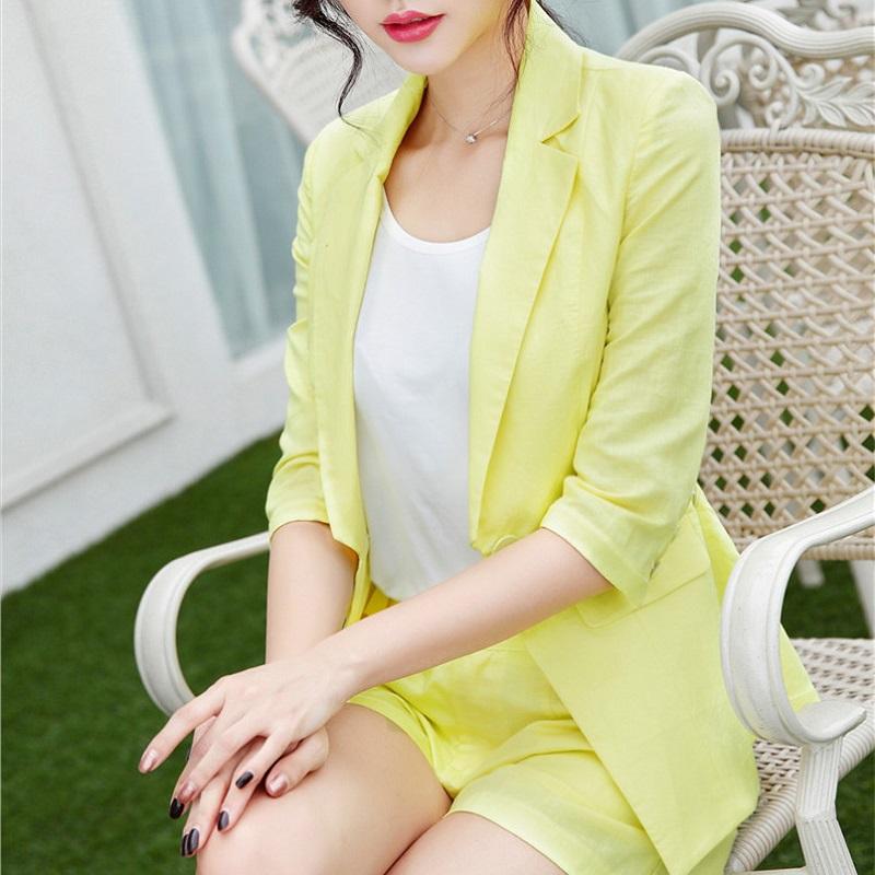 U&JINLY желтый Номер XXXL womens linen casual blazers elegant autumn office business outwear jacket top blazer half sleeve single button slim wear to work