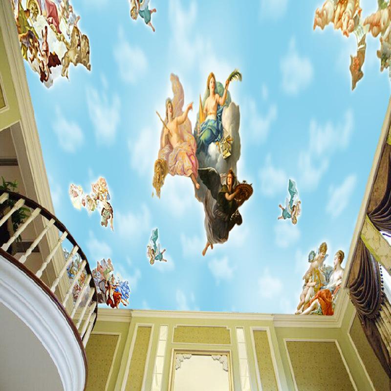 Colomac Смешанный цвет европейский стиль ангел вход фреска стены бумага отель лобби ресторан гостиная фон обои роскошная интерьер декор обои