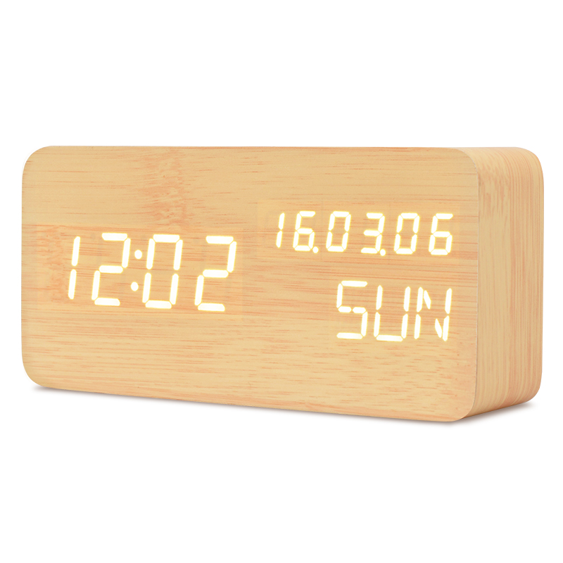 TXL желтый modern usb 4 x aaa powered wooden green led alarm clock w temperature display white