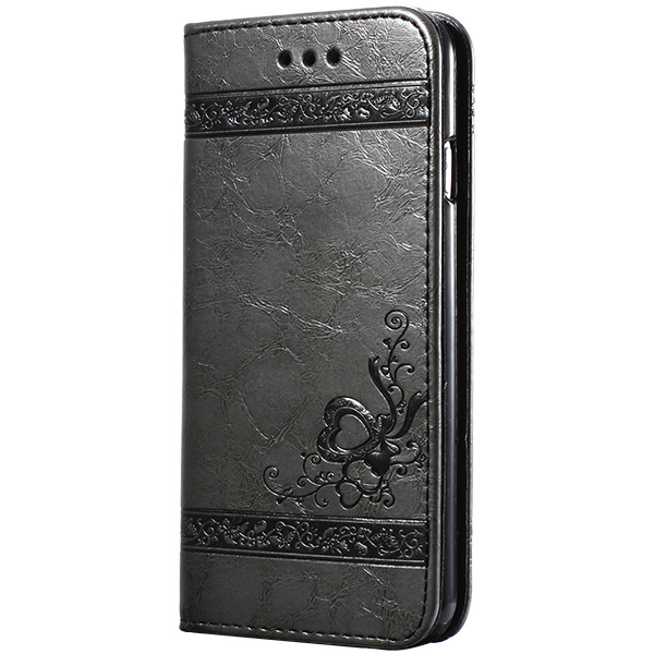 keymao Серый цвет high quality leather wallet style flip open case w card slots for iphone 6 plus brown