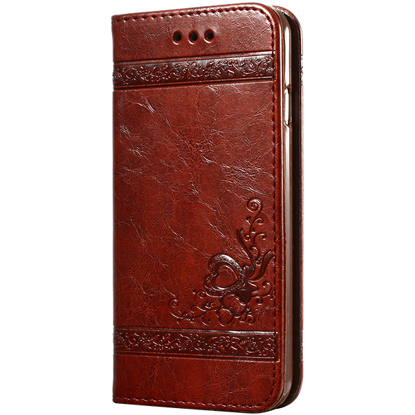 keymao Красный цвет вина high quality leather wallet style flip open case w card slots for iphone 6 plus brown