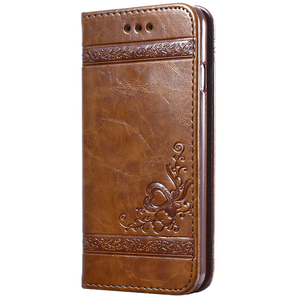 keymao Коричневый цвет high quality leather wallet style flip open case w card slots for iphone 6 plus brown