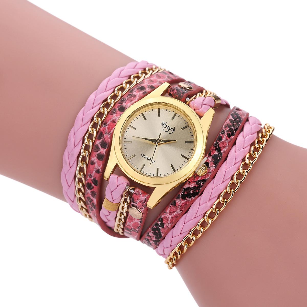 MEGIR Розовый цвет женские наручные