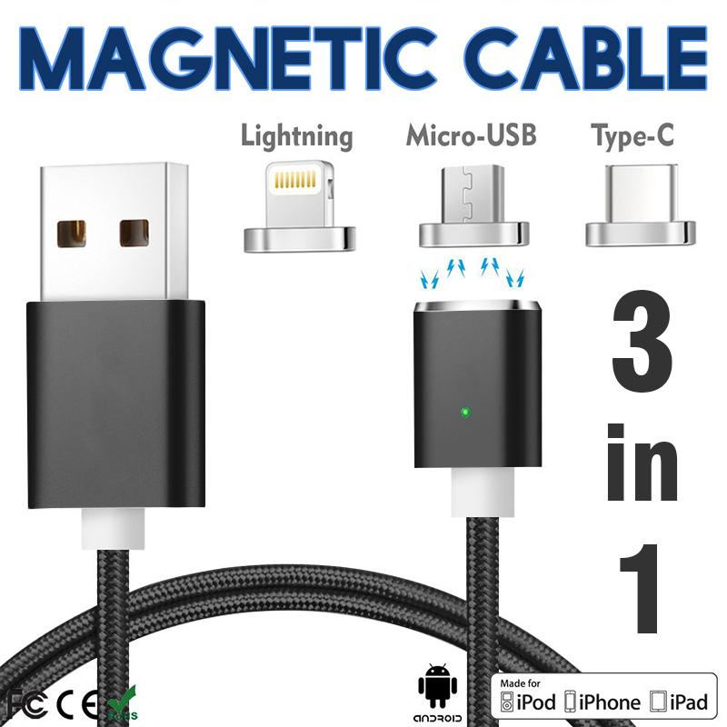 keymao Чёрный цвет 3 in 1 lightning type c micro usb magnetic head data charger cable