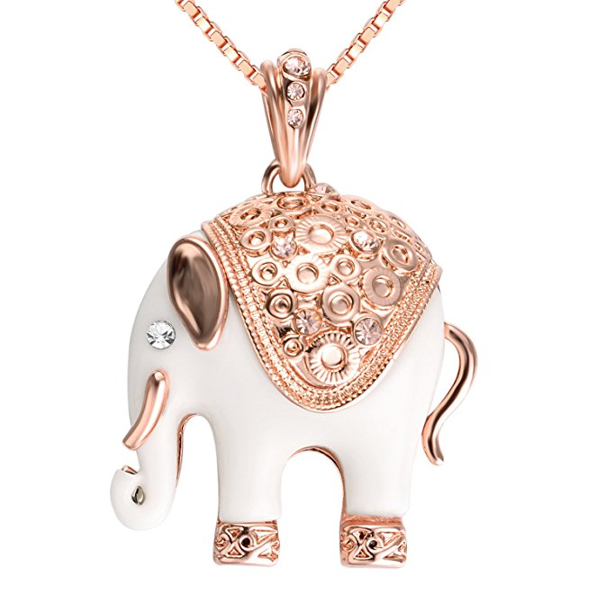 yoursfs Роза золотой yoursfs 18k rose gold plated charm white enamel lucky elephant long animal pendant necklace chain for women clothing