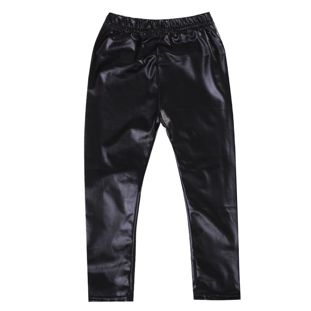 Девочки черный кожаный тощий штаны лосины CANIS 110 фото