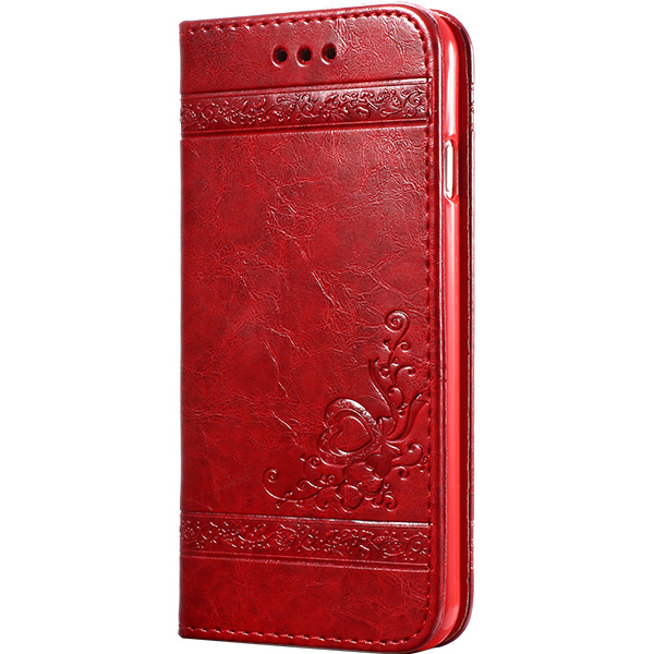 keymao Красный цвет high quality leather wallet style flip open case w card slots for iphone 6 plus brown