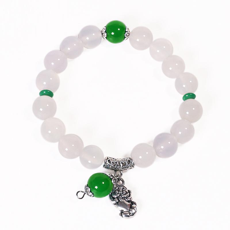 JingTian Белый агат зеленый бисер Traditional Chinese jingtian драгоценности агат халцедон кулон благополучно кольцо