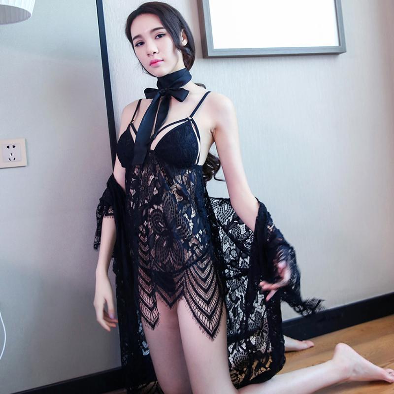 JD Коллекция си ло человек сексуальное женское белье больших размеров прозрачный сексуальный соблазн шифон кружева сорочка костюм см шоу